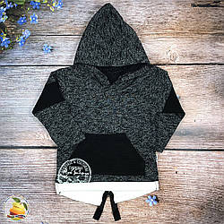 Толстовка с капюшоном для мальчика фирма Modax (чёрный) Размеры: 1,2,3 года (8942-1)