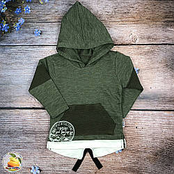 Толстовка з капюшоном трьох нитка для хлопчика фірма Modax (зелений) Розміри: 1,2,3 року (8942-2)
