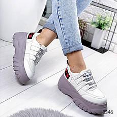 """Кросівки жіночі """"Lixes"""" білого кольору з еко шкіри. Кеди жіночі. Мокасини жіночі. Взуття жіноче, фото 2"""