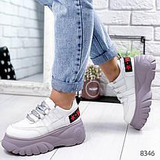 """Кросівки жіночі """"Lixes"""" білого кольору з еко шкіри. Кеди жіночі. Мокасини жіночі. Взуття жіноче, фото 3"""