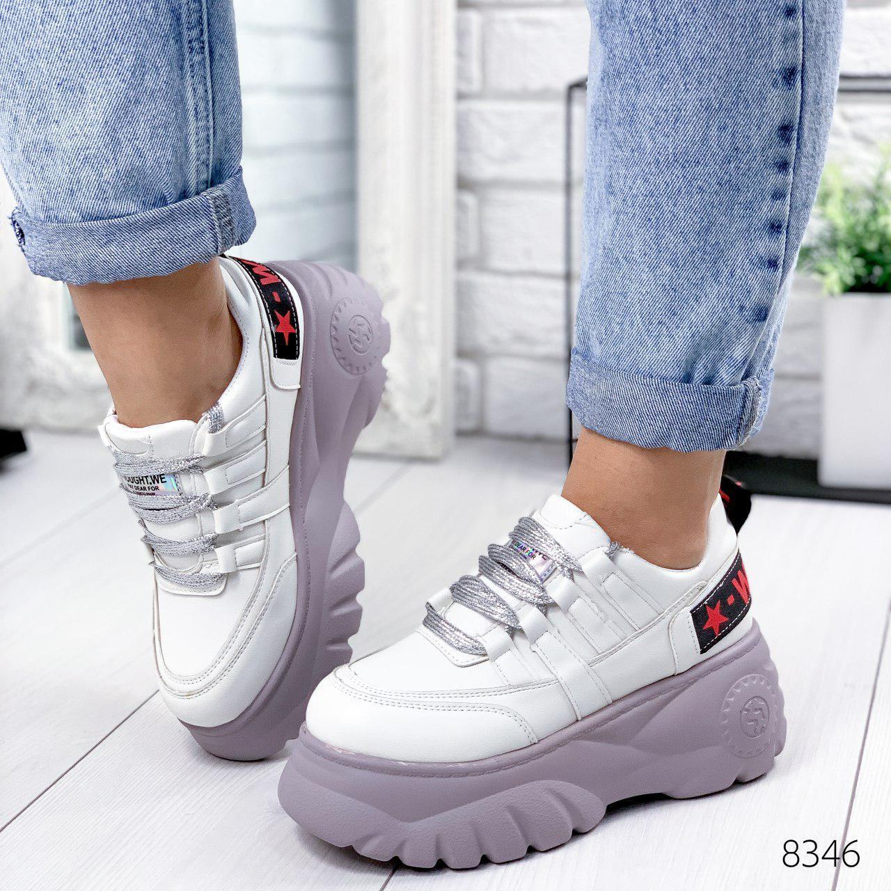 """Кросівки жіночі """"Lixes"""" білого кольору з еко шкіри. Кеди жіночі. Мокасини жіночі. Взуття жіноче"""