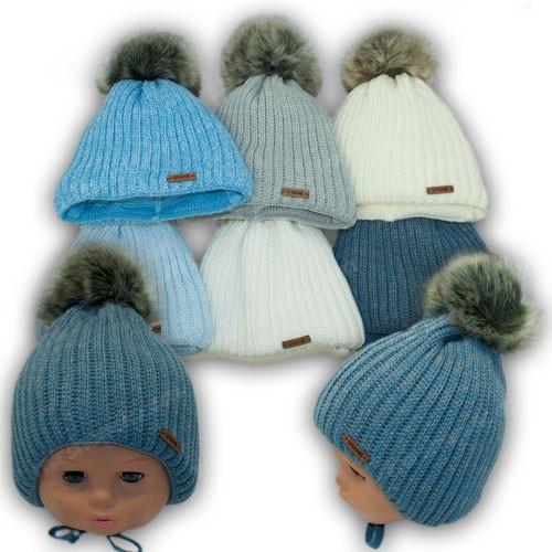 Вязаная шапочка на завязках для мальчика, р. 38-40