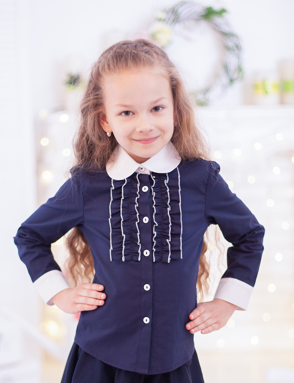 Школьная блузка  Свит блуз синяя мод. 3002 р.134
