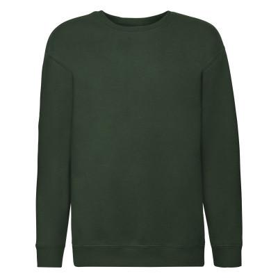Темно-зеленый однотонный хлопковый свитшот на утеплителе под принт