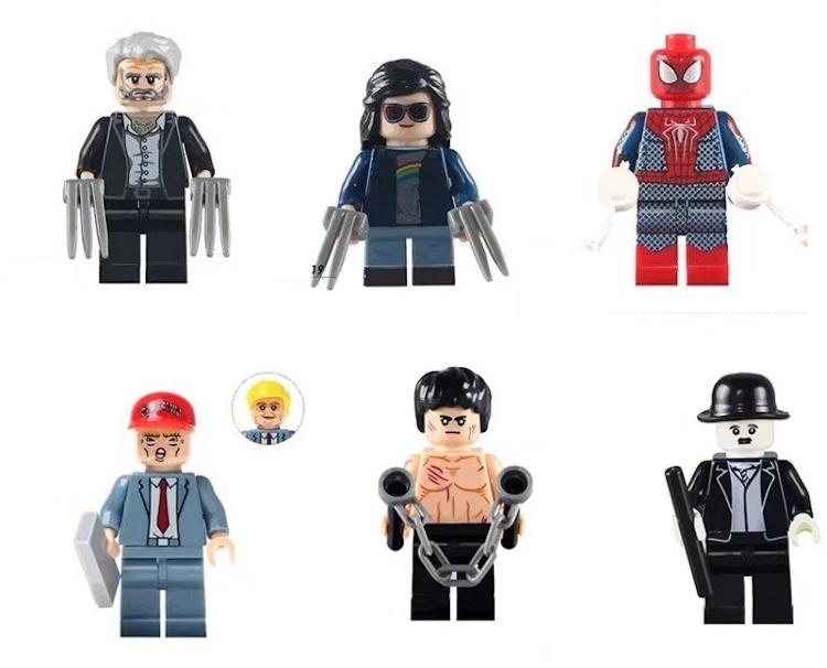 Росомаха Человек-паук Дональд Трамп Брюс Ли Лего Lego Чарли Чаплина