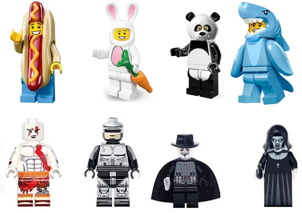 Фигурки хот-дог заяц панда акула робокоп Гай фокс монашка лего Lego