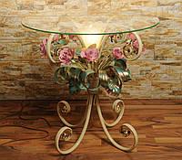 Стол журнальный с подсветкой и розовыми розами С107/1 TIR