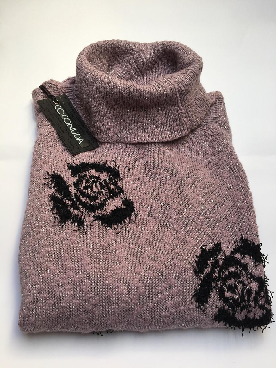 Свитер кофта  женский серый,желтый и сиреневый в черных розах,воротник хомут зима-осень Coconuda