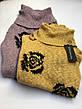 Свитер кофта  женский серый,желтый и сиреневый в черных розах,воротник хомут зима-осень Coconuda, фото 2