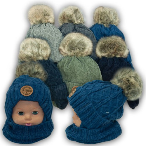 Детский комплект - шапка и шарф для мальчика, р. 50-52