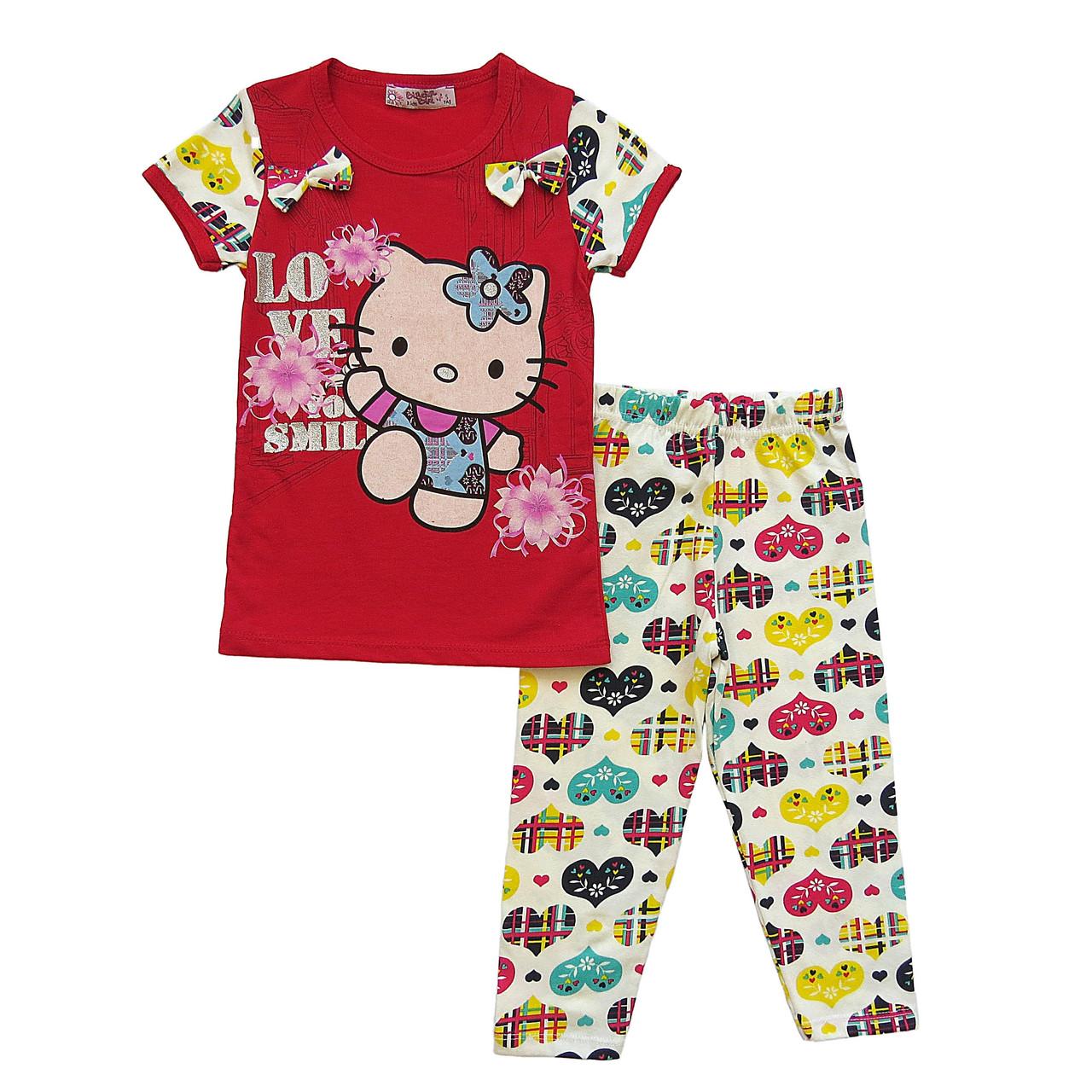 Летний костюм Hello Kitty для девочки. 6, 7, 8 лет