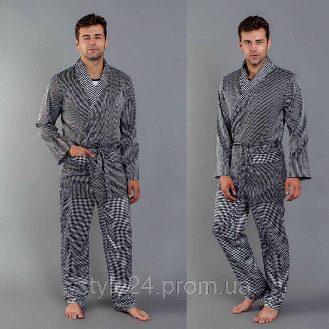 Чоловіча атласна піжама-костюм  .Р-ри  48-52