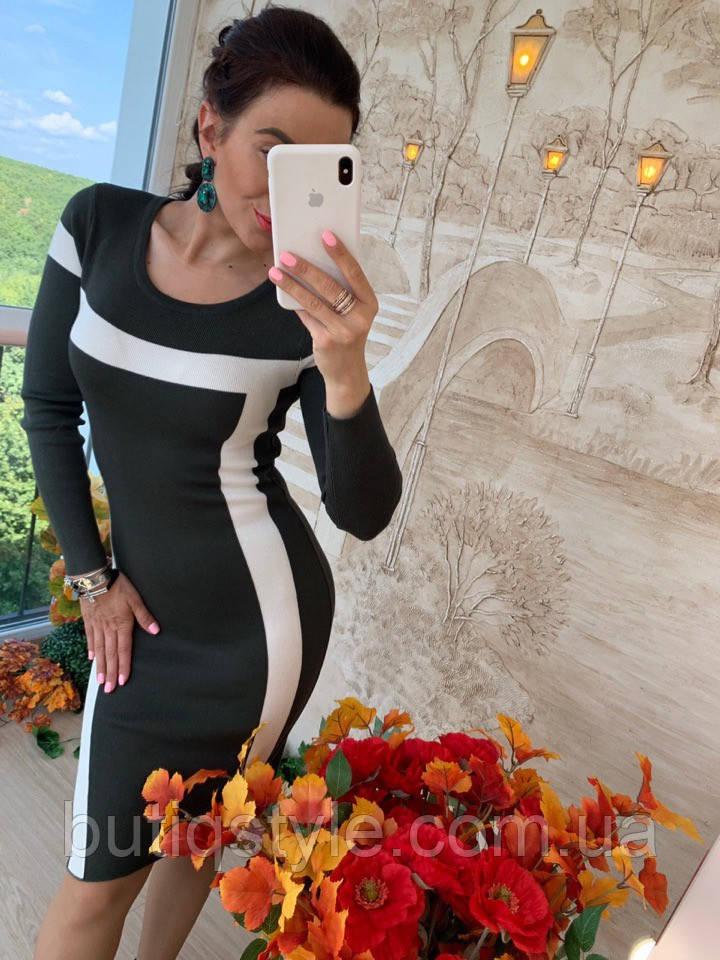 Повсякденне плаття з білими лініями трикотаж бордо, сірий
