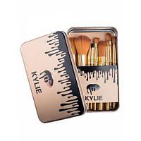 Набор кистей для макияжа Kylie Jenner 12 шт в металлическом футляре золотые, кисти для макияжа