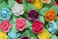 Вафельные цветы «Розы на трилистнике микс» 90 шт