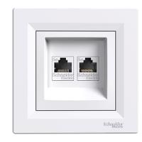 Розетка компьютерная LAN 2xRJ45 белая ASFORA Schneider electric EPH4400121