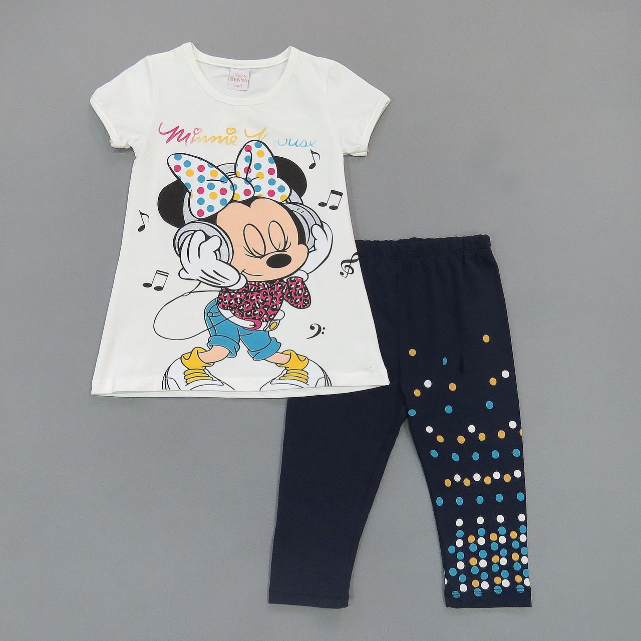 Летний костюм Minnie Mouse для девочки. Маломерит. 104, 116 см