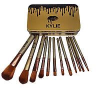 Набор кисточек для макияжа  Kylie Professional Brush Set  золото 12 штук