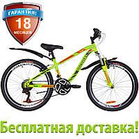 """Горный подростковый велосипед 24"""" Discovery FLINT AM Vbr 2019 (зелено-красный (м))"""
