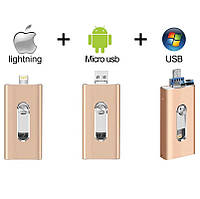 Флешка  для Iphone 7/7 plus/Ipad 128 Gb Flash Drive gold