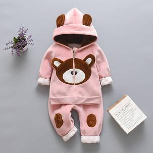 Костюм детский велюровый  утепленный  на девочку розовый  осень-зима 3-4 года, фото 2