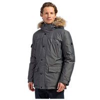 Мужской зимний пуховик с мехом енота серо-черный Finn Flare W17-21008-200