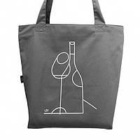 """Эко сумка из саржи """"Вино"""" (серая)"""