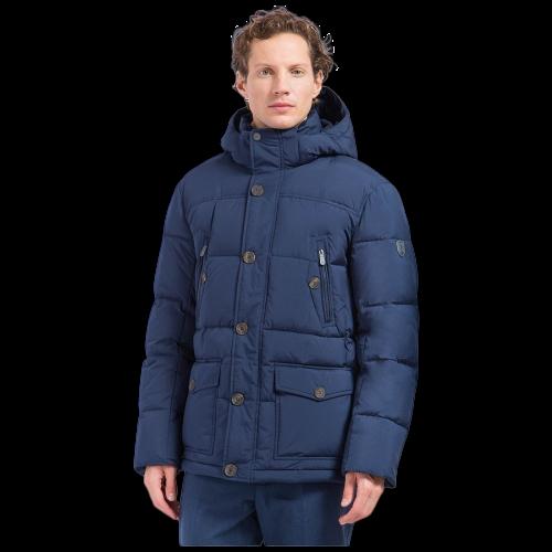 Мужской зимний пуховик c боковыми карманами темно-синий Finn Flare W17-22012-101
