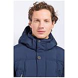 Мужской зимний пуховик c боковыми карманами темно-синий Finn Flare W17-22012-101, фото 6