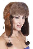 Женская шапка ушанка из меха Рекса с Норкой Yn-20  Светло-коричневый