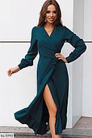 Платье на запах длинный рукав с манжетом изумруд  BL-5993