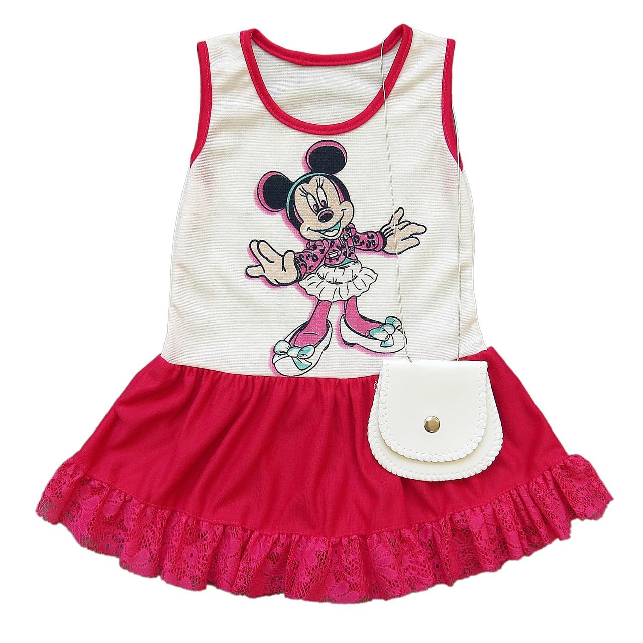 Летнее платье Minnie Mouse с сумочкой для девочки. Маломерит. 1 год