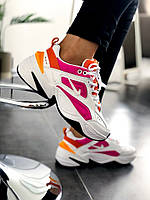 Женские кроссовки Nike M2K Tekno White/ White-Laser Fuchsia-Hyper Crimson(Топ качество)