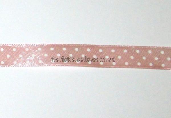 """Лента """"грязно""""-розовая Горошек 1,2 см"""