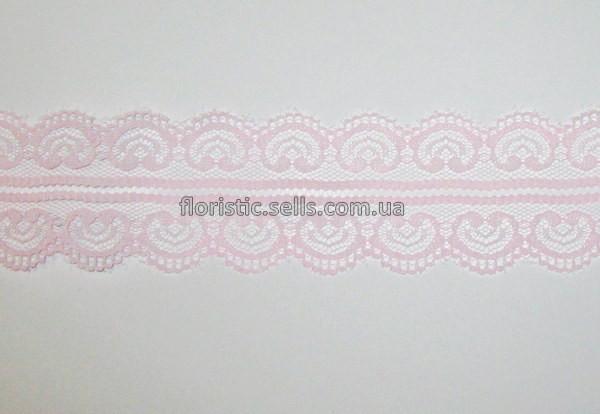 Кружево розовое Сердечки 5 см