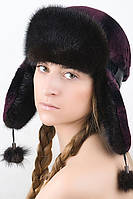 Женская шапка ушанка из меха Рекса с Норкой Yn-20  Баклажан