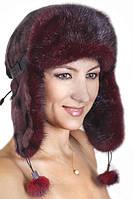 Женская шапка ушанка из меха Рекса с Норкой Yn-20  Бордо
