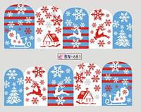 Новогодние наклейки на ногти BN-681
