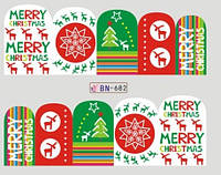 Новогодние наклейки на ногти BN-682