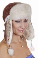 Женская шапка ушанка из меха Рекса с Норкой Yn-20  Коричневый