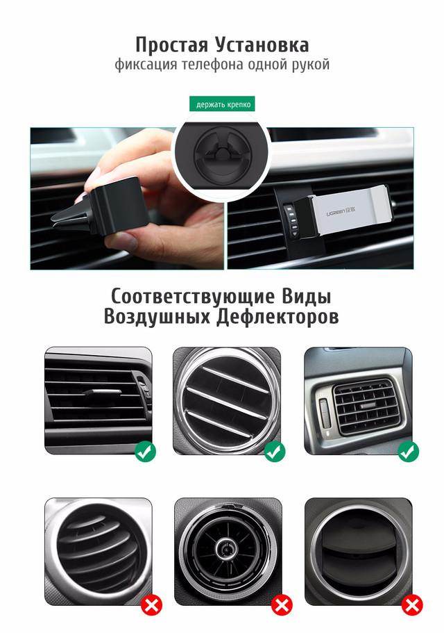 Универсальный автомобильный держатель Ugreen для телефона/навигатора Установка