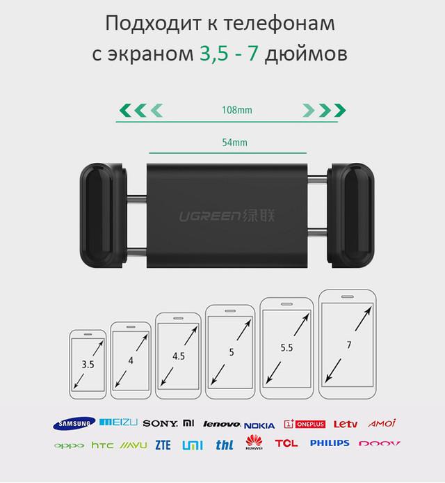 Универсальный автомобильный держатель Ugreen для телефона/навигатора Совместимость