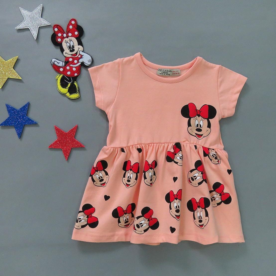 Летнее платье Minnie Mouse для девочки. Маломерит. 86-92;  122-128 см