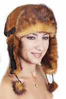 Женская шапка ушанка из меха Рекса с Норкой Yn-20  Рыжий