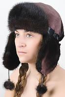 Женская шапка ушанка из меха Рекса с Норкой Yn-20  Коричневый-черный
