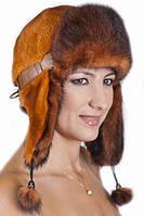 Женская шапка ушанка из меха Рекса с Норкой Yn-20 Ярко-рыжий