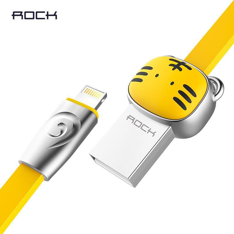 Кабель Lightning Rock Zodiac Tiger для зарядки и передачи данных, плоский RCB0503 (Желтый, 1м)