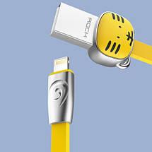 Кабель Lightning Rock Zodiac Tiger для зарядки и передачи данных, плоский RCB0503 (Желтый, 1м), фото 3