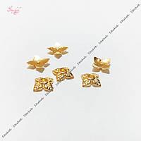 Шапочки для бусин листочки 6 мм для рукоделия цвет золото