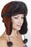 Женская зимняя  шапка  из меха Рекса с Норкой Yn-20 Коричневый